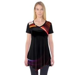 Grid Bent Vibration Ease Bend Short Sleeve Tunic