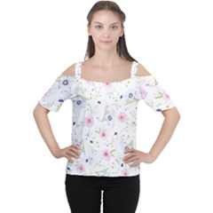 Floral Pattern Background Cutout Shoulder Tee