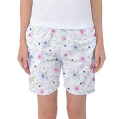 Floral Pattern Background Women s Basketball Shorts