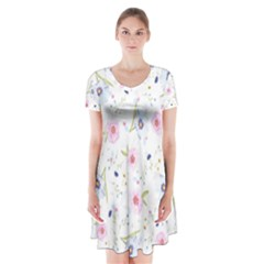 Floral Pattern Background Short Sleeve V Neck Flare Dress