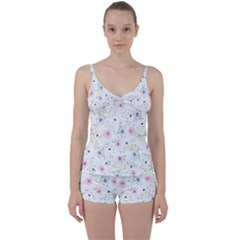 Floral Pattern Background Tie Front Two Piece Tankini