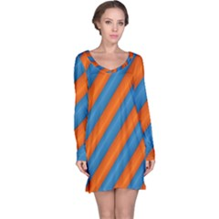 Diagonal Stripes Striped Lines Long Sleeve Nightdress