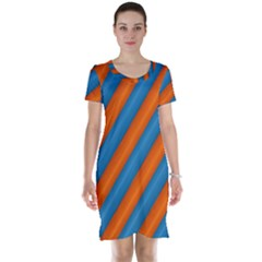 Diagonal Stripes Striped Lines Short Sleeve Nightdress