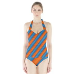 Diagonal Stripes Striped Lines Halter Swimsuit