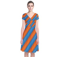 Diagonal Stripes Striped Lines Short Sleeve Front Wrap Dress