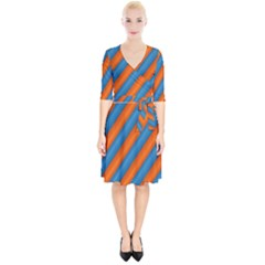 Diagonal Stripes Striped Lines Wrap Up Cocktail Dress