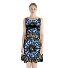 Rose Window Strasbourg Cathedral Sleeveless Waist Tie Chiffon Dress