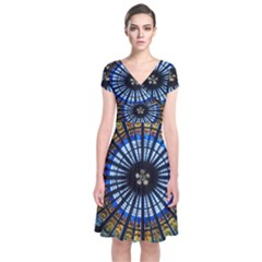 Rose Window Strasbourg Cathedral Short Sleeve Front Wrap Dress