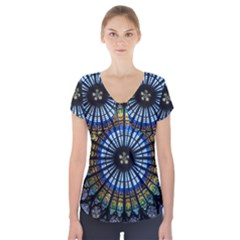 Rose Window Strasbourg Cathedral Short Sleeve Front Detail Top