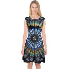 Rose Window Strasbourg Cathedral Capsleeve Midi Dress