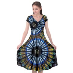 Rose Window Strasbourg Cathedral Cap Sleeve Wrap Front Dress