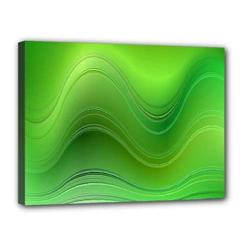 Green Wave Background Abstract Canvas 16  X 12