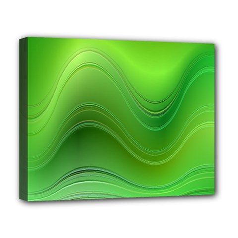 Green Wave Background Abstract Deluxe Canvas 20  X 16