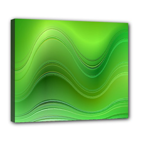 Green Wave Background Abstract Deluxe Canvas 24  X 20