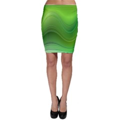 Green Wave Background Abstract Bodycon Skirt