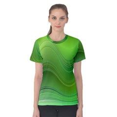 Green Wave Background Abstract Women s Cotton Tee