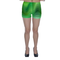 Green Wave Background Abstract Skinny Shorts