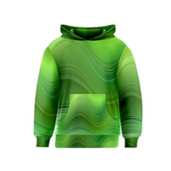 Green Wave Background Abstract Kids  Pullover Hoodie