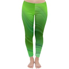 Green Wave Background Abstract Classic Winter Leggings