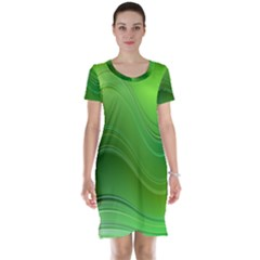 Green Wave Background Abstract Short Sleeve Nightdress