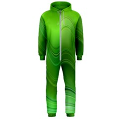 Green Wave Background Abstract Hooded Jumpsuit (men)