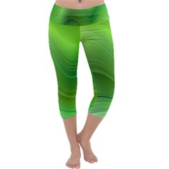 Green Wave Background Abstract Capri Yoga Leggings