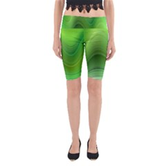 Green Wave Background Abstract Yoga Cropped Leggings