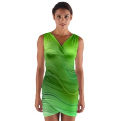 Green Wave Background Abstract Wrap Front Bodycon Dress