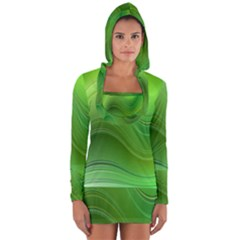 Green Wave Background Abstract Long Sleeve Hooded T Shirt