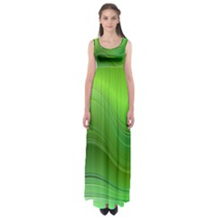 Green Wave Background Abstract Empire Waist Maxi Dress