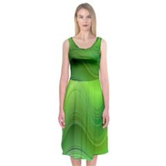 Green Wave Background Abstract Midi Sleeveless Dress
