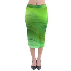 Green Wave Background Abstract Midi Pencil Skirt