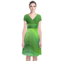 Green Wave Background Abstract Short Sleeve Front Wrap Dress