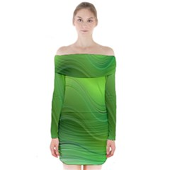 Green Wave Background Abstract Long Sleeve Off Shoulder Dress