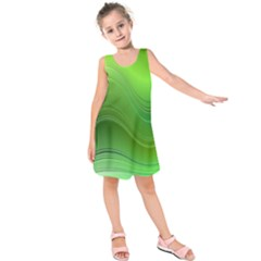 Green Wave Background Abstract Kids  Sleeveless Dress