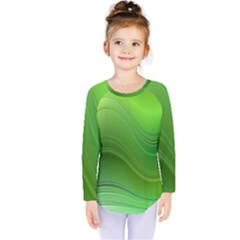 Green Wave Background Abstract Kids  Long Sleeve Tee