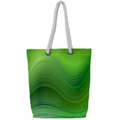 Green Wave Background Abstract Full Print Rope Handle Tote (small)