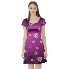Snowflakes 3d Random Overlay Short Sleeve Skater Dress