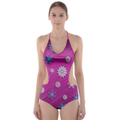 Snowflakes 3d Random Overlay Cut Out One Piece Swimsuit