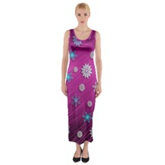 Snowflakes 3d Random Overlay Fitted Maxi Dress