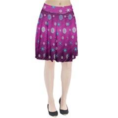 Snowflakes 3d Random Overlay Pleated Skirt