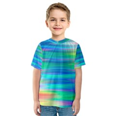 Wave Rainbow Bright Texture Kids  Sport Mesh Tee