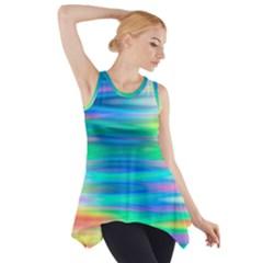 Wave Rainbow Bright Texture Side Drop Tank Tunic