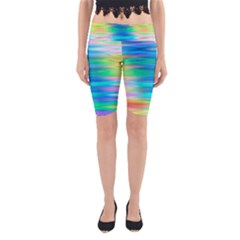 Wave Rainbow Bright Texture Yoga Cropped Leggings