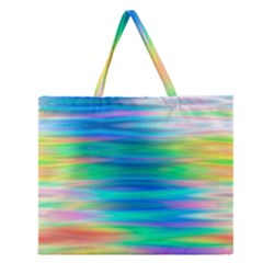 Wave Rainbow Bright Texture Zipper Large Tote Bag