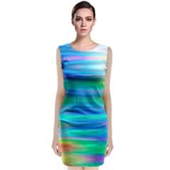 Wave Rainbow Bright Texture Classic Sleeveless Midi Dress