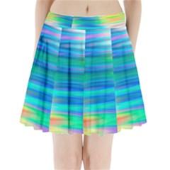 Wave Rainbow Bright Texture Pleated Mini Skirt