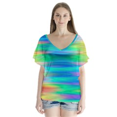 Wave Rainbow Bright Texture V Neck Flutter Sleeve Top