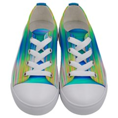 Wave Rainbow Bright Texture Kids  Low Top Canvas Sneakers