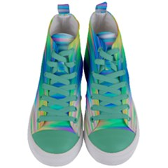 Wave Rainbow Bright Texture Women s Mid Top Canvas Sneakers